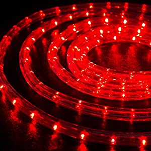 """WYZworks 25 feet 1/2"""" Thick RED Pre-Assembled LED Rope Lights with 10', 50', 100', 150' option - Christmas Holiday Decoration Lighting   UL & CSA Certified"""