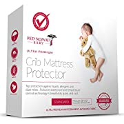 Red Nomad Crib Pad Mattress Protector – Ultra Soft Bamboo Fabric Waterproof Hypoallergenic Cover - Fits All Standard Crib Sizes
