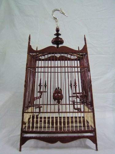 Popular Elegant Elaborate Dark Brown Color Hanging Nak-bud Wood Bird Cage Thai-southern Style Made in Thailand