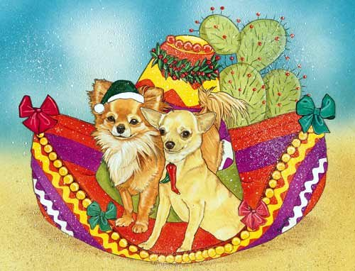 Chihuahua Christmas Cards Long Hair And Short : 10 Holiday Cards with Red Envelopes - ADORABLE!