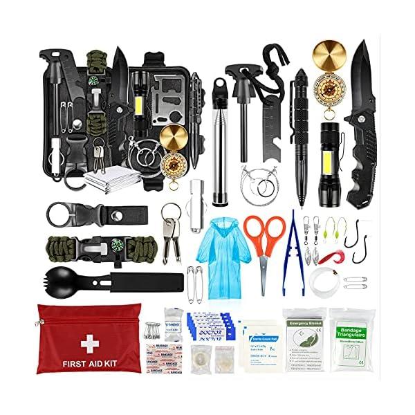 51Ydn63SkYS LC-dolida Survival Kit 15 in 1, Außen Notfall Survival Kit mit Messer/Taktische Taschenlampe für Camping/Bushcraft…