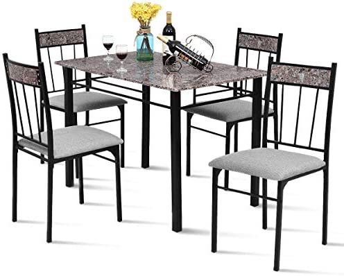 Tangkula Dining Table Set 5 Pieces Vintage Retro Metal Frame Padded Seat Faux Marble Home Kitchen Dining Room Breaksfast Furniture Table and Chairs Set