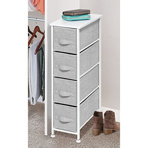 mDesign Fabric Narrow 4-Drawer Dresser and Storage Organizer Unit for Bedroom, Dorm Room, Laundry Room - Gray