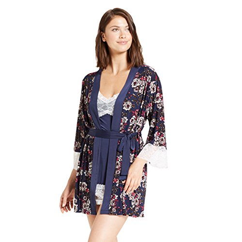 s 2 Piece Lace Trim Floral Print Nightgown Robe Set Deep Navy Large ()