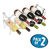 mDesign Stackable Wine Storage Rack for Kitchen Counter Tops – Holds 8 Bottles, Chrome