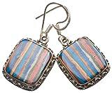 """StarGems(tm) Natural Mosaic Jasper Handmade Boho 925 Sterling Silver Earrings 1.5"""""""