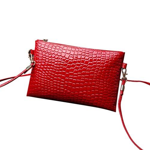 Hand Bag, Alonea Women Girl Fashion Purse Leather Crocodile Patten Mini Crossbody Shoulder Bag Mini Handbag Phone Bag (Red) (Belted Hobo Handbag)