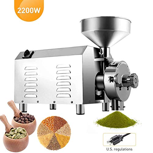 Large Commercial Grain Grinding Industrial Machine Electric Beer Grain Mill Grinder Nutri Mill Flour Motorized Stainless Steel Barley Crusher for Wheat Corn Coffee Pepper Soybean, 30-50kg/h (2200W) by Rbaysale (Image #8)