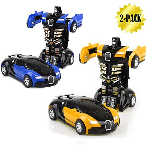 JSMK Toy Cars for Kids Rc Vehicles 2-Packs 1-Step Deformation Car,, Kids Toys Robot One Step(Blue and Yellow)