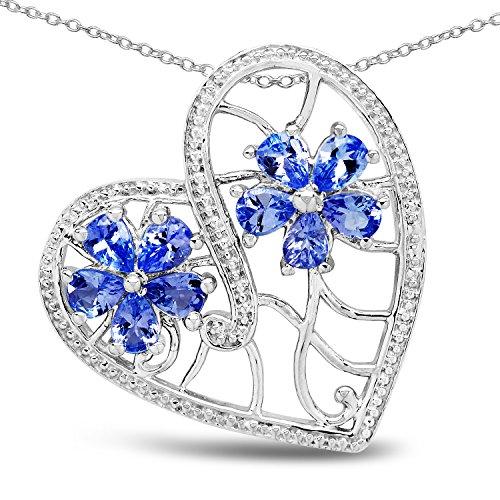 1.40 Carat Genuine Tanzanite .925 Sterling Silver Heart Shape Pendant