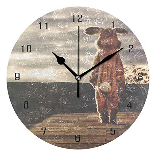 (Home Decor Rabbit Hare Bunny Costume Animal Easter Whimsical Round Style MWall Clock,Silent Non -Ticking Wall Clock, Battery Operated Art Decorative for Kitchen,Living Room,Kids Room and Coffee Decor)