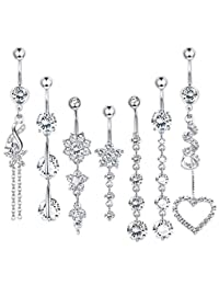 LOLIAS 7 Pcs 14G Dangle Belly Button Rings for Women Girls 316L Surgical Steel Curved Navel Barbell Body Jewelry Piercing