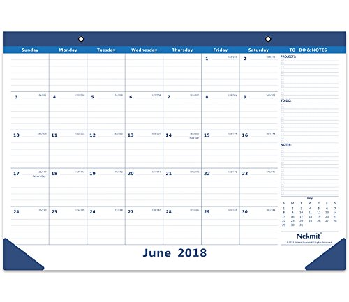 Nekmit Monthly Desk Pad Calendar, June 2018 - December 2019 16-3/4 x 11-4/5, Blue