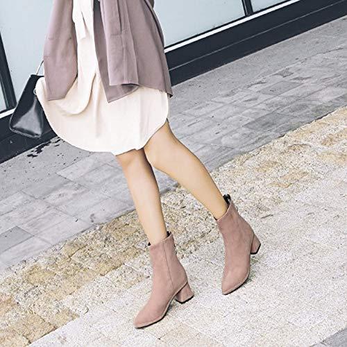 Taoffen Pointu Pink Femmes Martin Boots Bloc Talons UrU8qTw