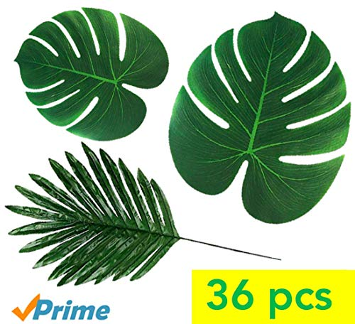 TIQS 36 Pieces Artificial Palm Tropical Leaves for Party Decoration Supplies 3 Kinds Faux Plants: Long Stem Monstera & Banana Leaf Pcs - for: Safari, Jungle, Hawaiian Luau, Kids Party, placemats]()