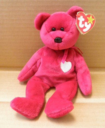 TY Beanie Babies Valentina Bear Stuffed Animal Plush Toy - 8 1/2 inches tall - Dark Pink