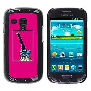 Shell-Star Arte & diseño plástico duro Fundas Cover Cubre Hard Case Cover para Samsung Galaxy S3 III MINI (NOT REGULAR!) / I8190 / I8190N ( Pink Gun Pistol Poster Vintage Skull )
