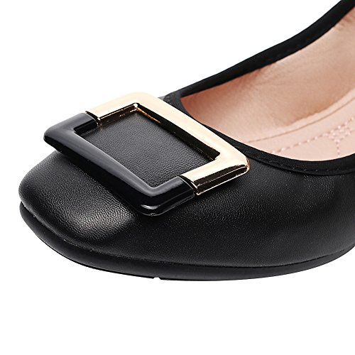 Ballet Shoes On Buckle Pumps Black Flats rismart Slip Square Women's 8YCqYfw