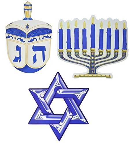 Beistle 22416 Hanukkah Cutouts, 10-Inch, 3 Per Package