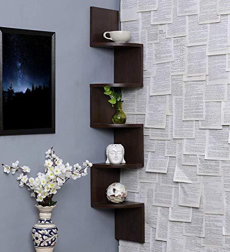 Acco Deco Wall Shelves   Corner Hanging Shelf for Living Room Stylish   Zig Zag Home Decor Floating Display Rack Storage…