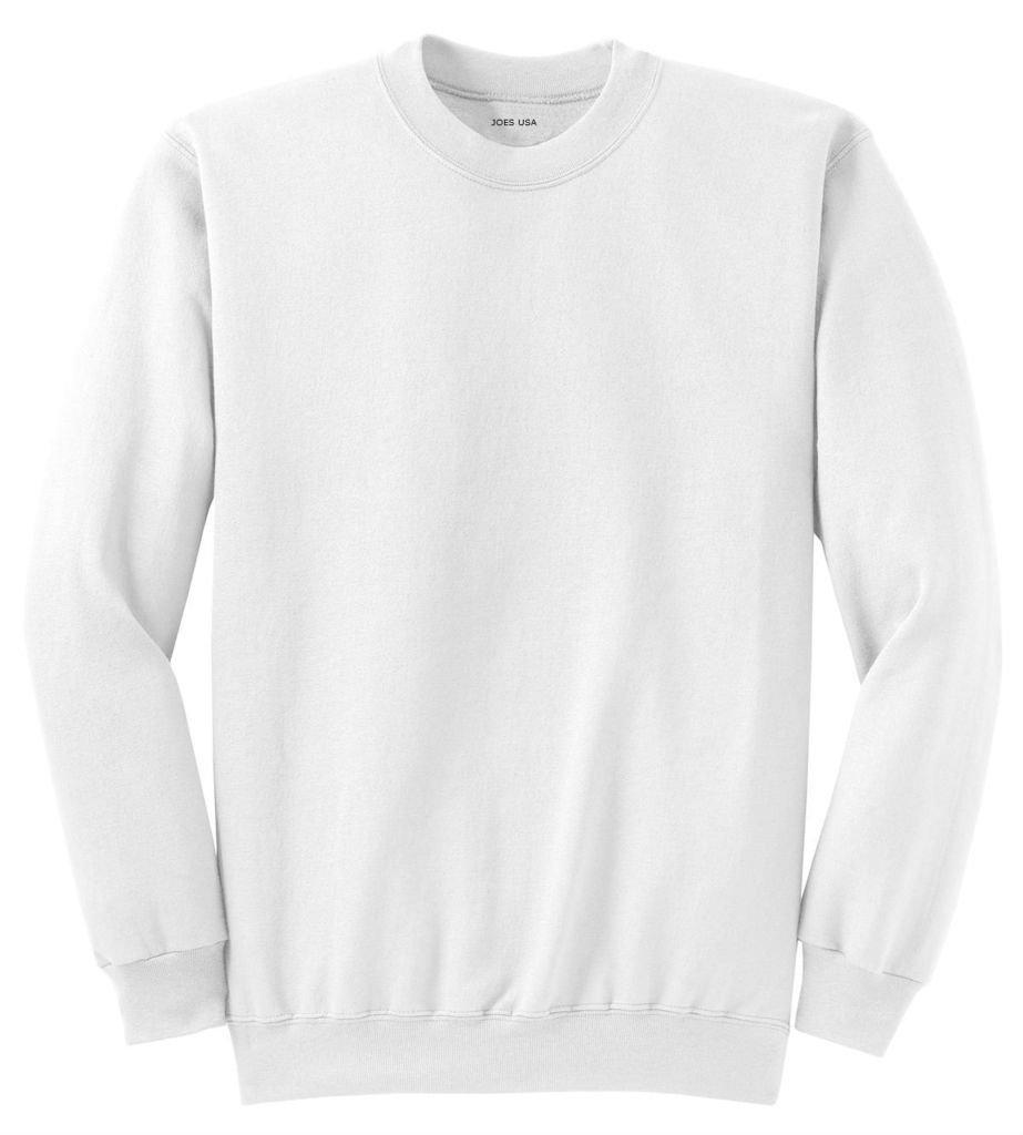 Joe's USA tm Adult Classic Crewneck Sweatshirt, L -White