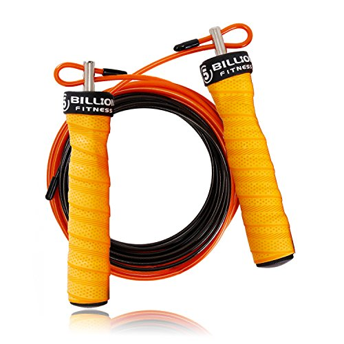 5BILLION Speed Jump Rope - Nature Handle - Adjustable with Ball Bearings - Workout for Double Unders, WOD, Outdoor, MMA & Boxing Training (Bend-Orange)