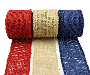 "CleverDelights 2"" Burlap Ribbon - Finished Edge - 30 Yards - Red, Natural, Navy Blue Color Combo Pack"