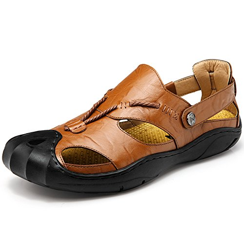 GOMNEAR Men Leather Sandals Closed Toe Comfy Footwear Fashion Beach Summer Outdoor Shoes Brown