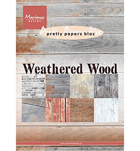 21/x 15.1/x 0.9/cm Marianne Design Weathered Wood Bloc Papier Multicolore