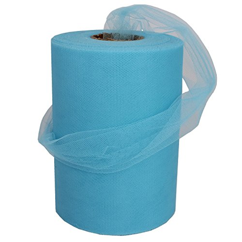 XiangGuanQianYing Sky blue Tulle Spool 6 Inch x 100 Yards for Tulle Decoration]()