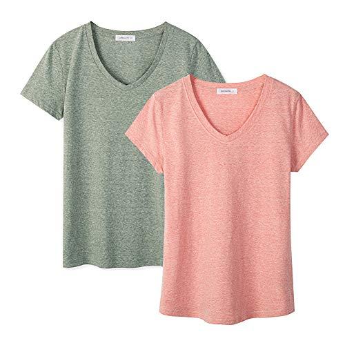 Dolcevida Womens Cotton Short Sleeve T Shirt V-Neck Tees (Pack of 2)