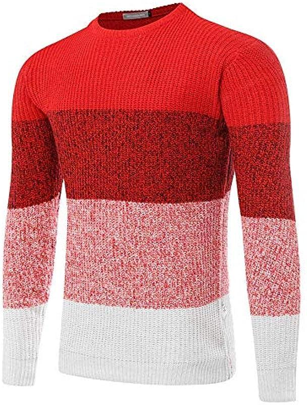 HaiDean męski sweter dzianina okrągły dekolt kołnierz wiosna Slim sweter dziergany jesień Modernas swobodny długi rękaw splice paski sweter sweter dziergany sweter: Odzież