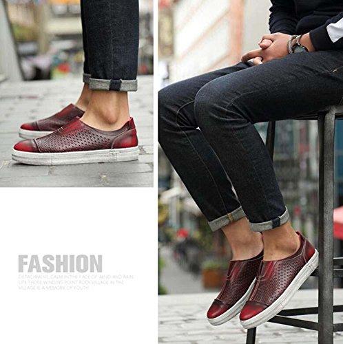 Bomba Ponerse Mocasín Hueco Antideslizante Sandalias Casual Zapatos Hombres Retro Cuero Respirable Estilo británico Pedal Zapatos Zapatos sucios Conducción Zapatos Zapatos perezosos Tamaño de la UE 38 wine red