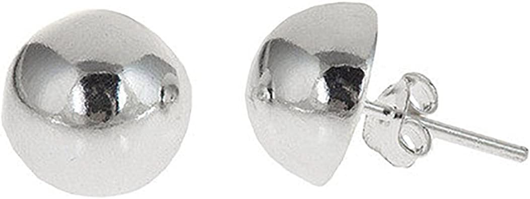 Ball Shiny High Polished Stud Post Earrings Solid 925 Sterling Silver