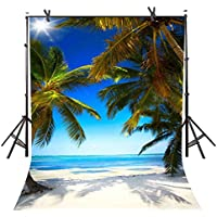 Natural Photography Backdrops 6FTx 9FT Seaside Beach Natural Scenery Coast Tropical Photography Background Blue Sky Coconut Tree Picture for Photo Studio or YouTube TMST108