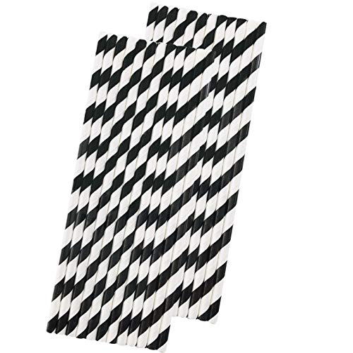 Stripe Paper Straws - Black White - 7.75 Inches - Pack of 50 - Outside the Box Papers Brand]()
