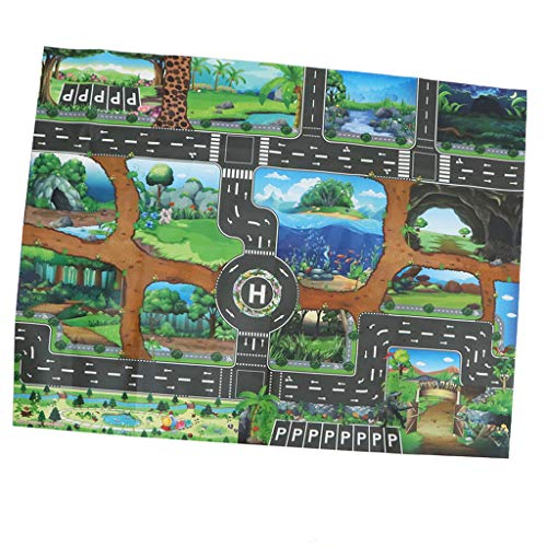 Fityle Dinosaur World Traffic Road Carpet Playmat Rug for Cars & Train Game Toys Baby Children Educational Play Mat for Bedroom Play Room Game