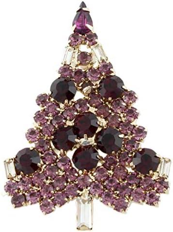 ブローチ クリスマスツリー クリスタル パープル ゴールドトーン