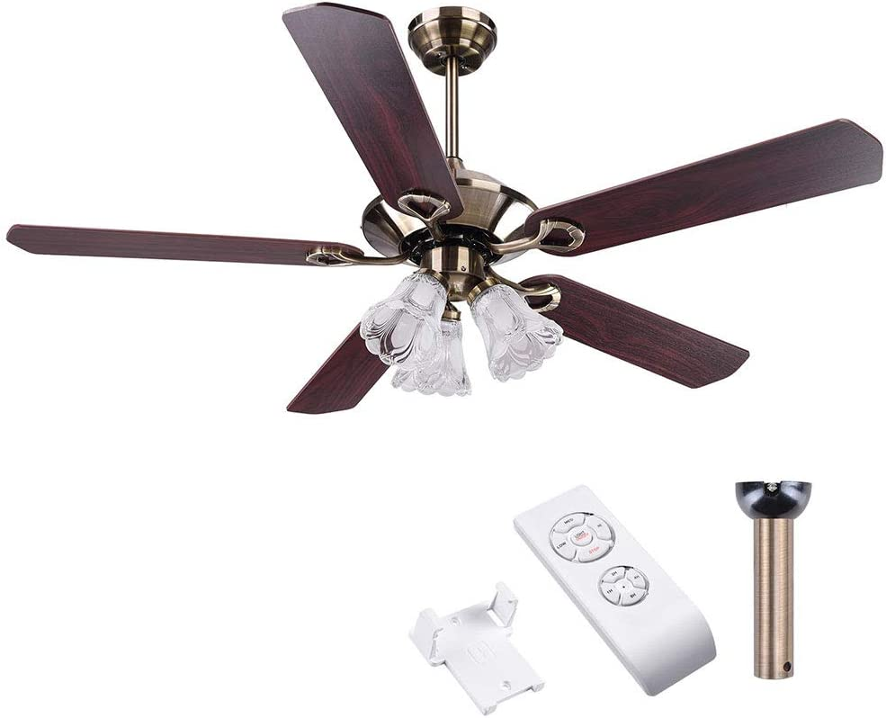 """Yescom 52"""" 5 Blades Ceiling Fan with Light Kit Frosted Glass Downrod Antique Bronze Reversible Remote Control"""