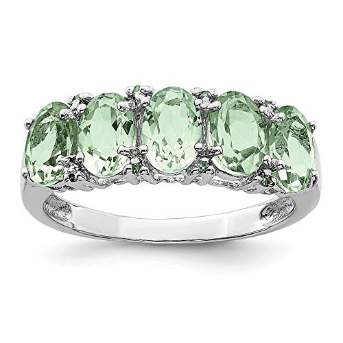 925 Sterling Silver 5 Pear Green Quartz Diamond Band Ring Size 8.00 Stone Gemstone Fine Jewelry Gifts For Women For Her