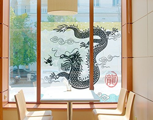 Window Mural Asian Dragon window sticker window film window tattoo glass sticker window art window décor window decoration Size: 56.7 x 56.7 inches by PPS. Imaging