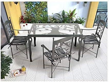 Forja Hispalense Mesa de jardín Mairena - Grupo 1 - Blanco Brillo, Mesa con Medidas de 150x85x76 cm. de Alto.: Amazon.es: Hogar