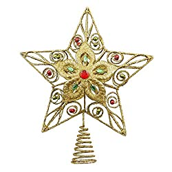 Alice Doria 10-inch Gold Glittered 5 Point Star Christmas...