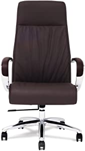 Forbes Genuine Leather Aluminum Base High Back Executive Chair - Dark Brown