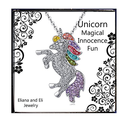 Birthstone Unicorn - Unicorn Silver Made with Swarovski Elements Pendant Necklace- Rainbow Unicorn Necklace For Girls -Unicorn Rainbow Necklace- Birthday Gift for Girls Woman Teens Daughter