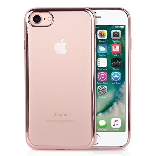 (iPhone 7 & iPhone 8 TPU Case with Metallic Glossy Colored Side Edge by Skyler [Slim Lightweight Clear Back Cover Case] [Metallic Glossy Color Sizde] / Metal Rose Gold)