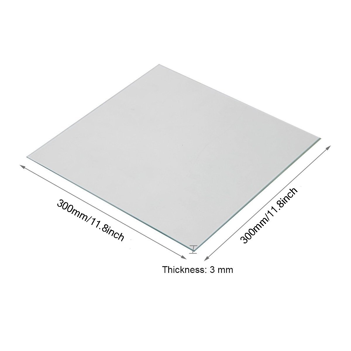 Wisamic Clear Borosilicate Glass Heat Bed 300x300x3mm for 3D Printers Prusa, Tevo Tornado, Mendela, AO Series by Wisamic (Image #1)