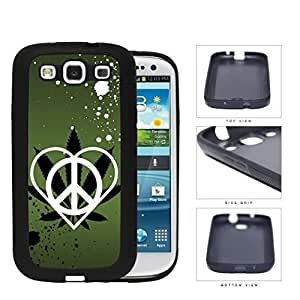 Peace Love Weed Green Splatter Rubber Silicone TPU Cell Phone Case Samsung Galaxy S3 SIII I9300