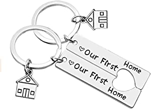 365Home 2-Pack Our First Home Keychain Housewarming Gift New Home Gift House Keyring Realtor Closing Gift