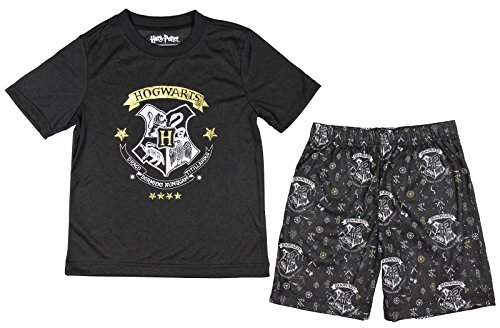 Harry Potter Big Boys' 'Hogwarts Draco Magic Crest Gryffindor, Slytherin, Hufflepuff Ravenclaw' Pajama Short Set, Black, 8 for $<!--$8.90-->